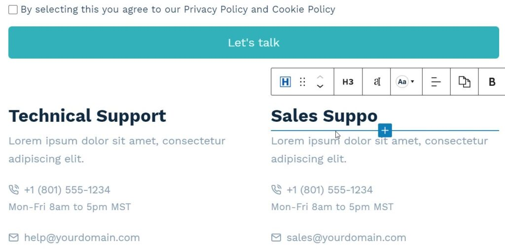 Edit Contact page with CMS