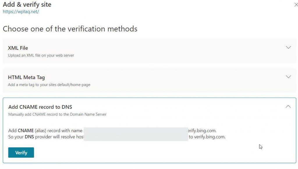 Bing Cname verification method