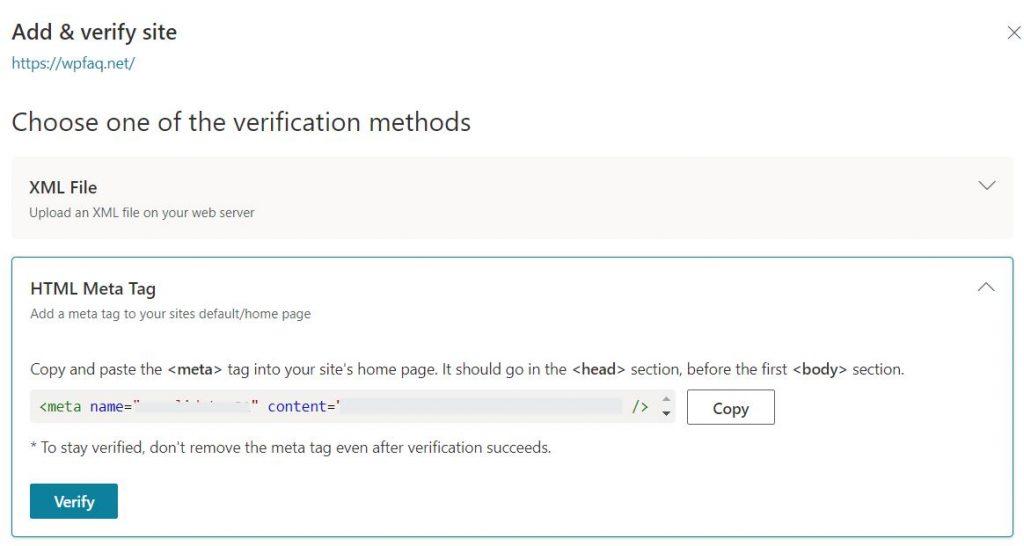 Bing HTML Meta Tag verification method