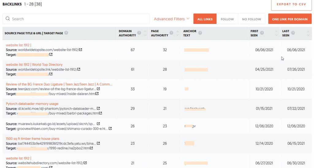 UberSuggest backlinks analyzer