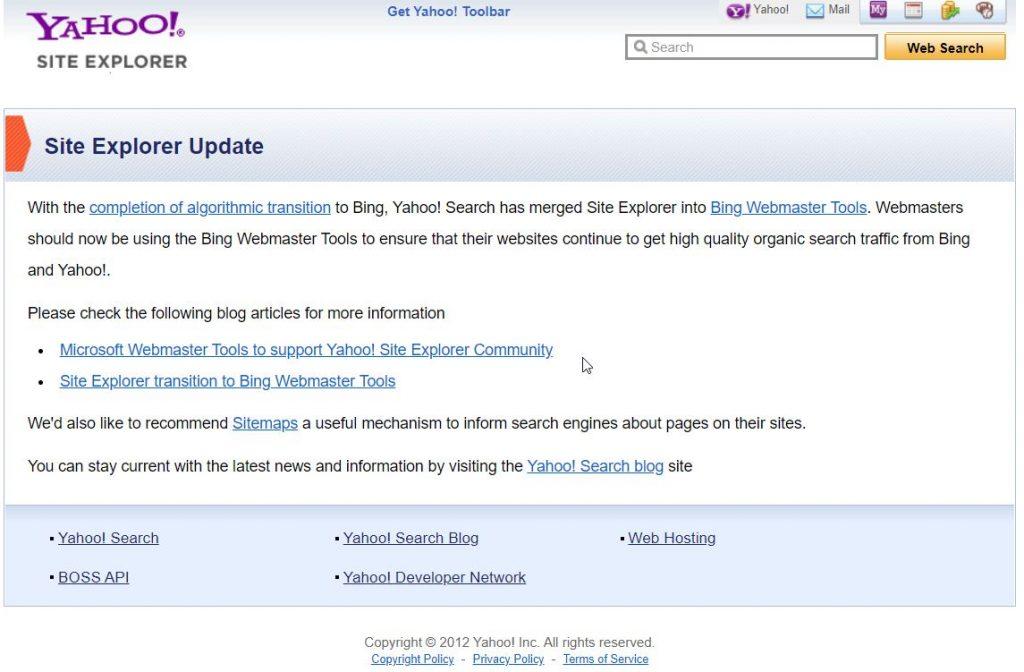 Yahoo Site Explorer Merged with Bing