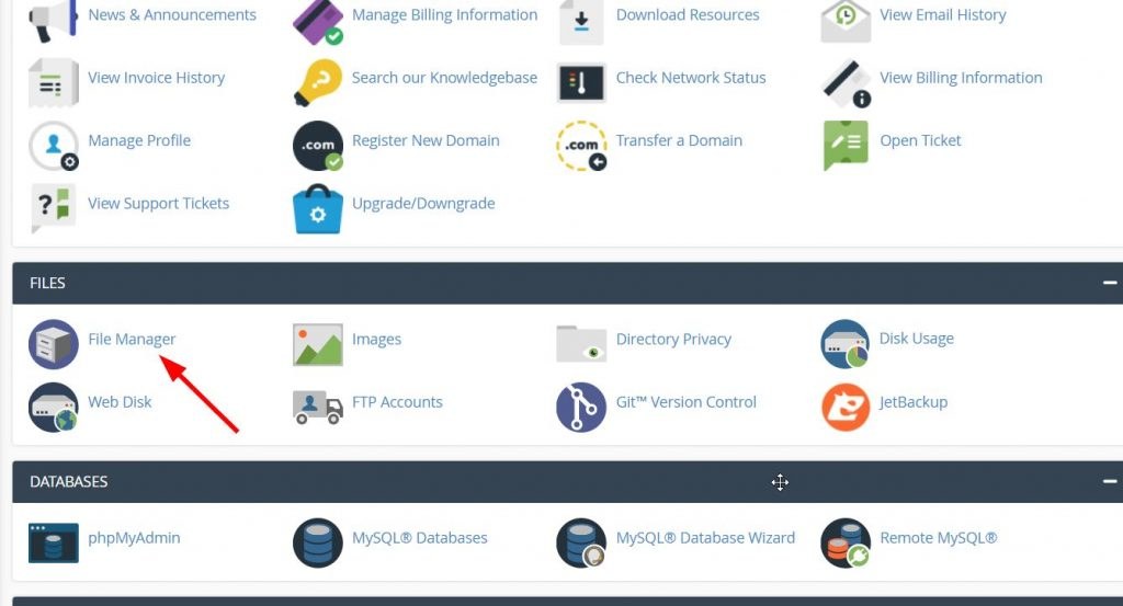 file manager within Cpanel