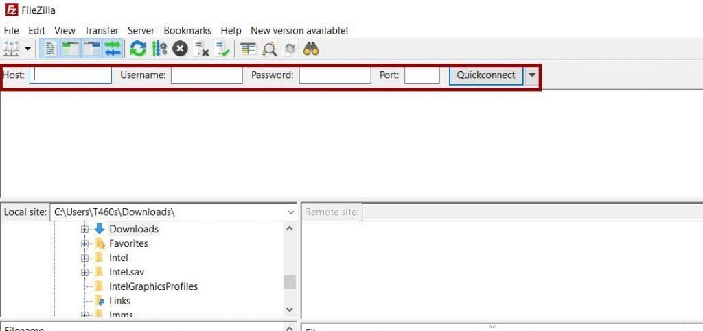 Fill in the FileZilla settings