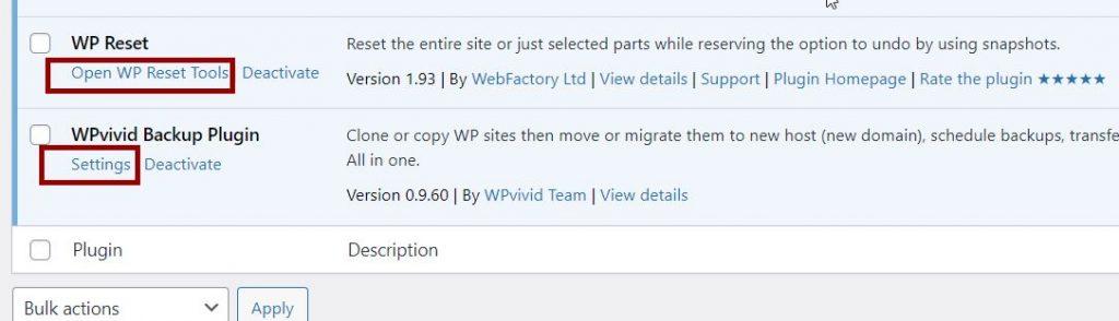 open Plugin settings page