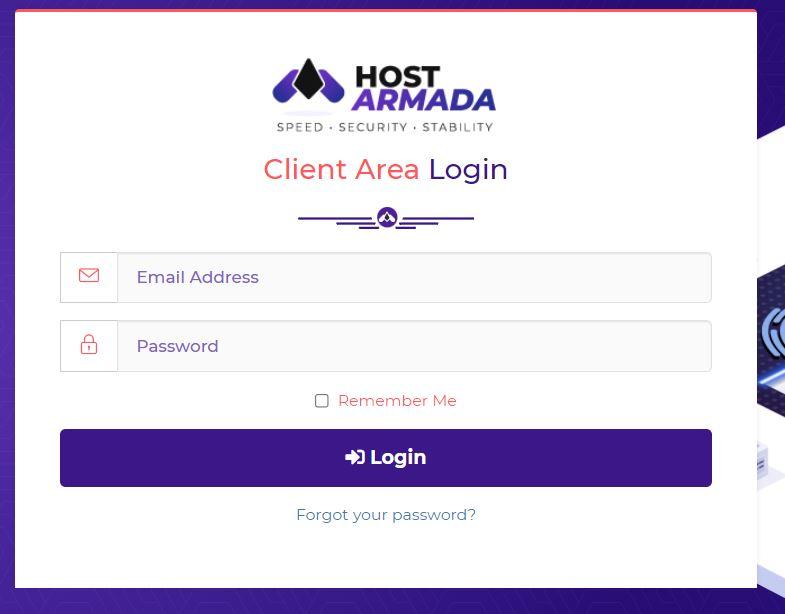 HostArmada Login page
