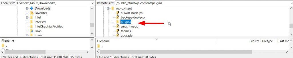 Access Plugins Folder via FTP Client